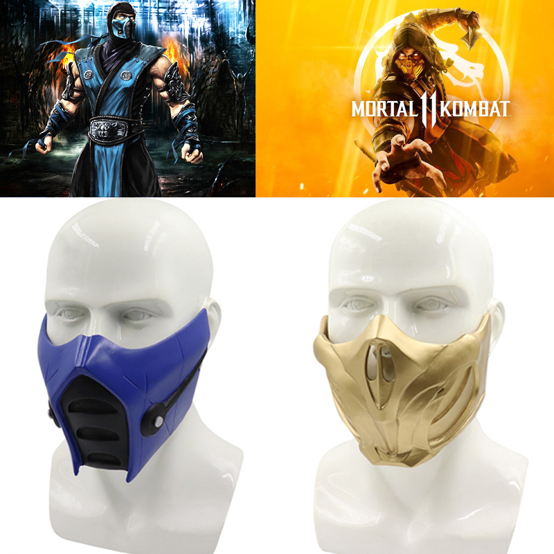 Game Mortal Kombat 11 Scorpion Mask Cosplay Props Resin Unisex Halloween Accessories Sub-Zero Masks