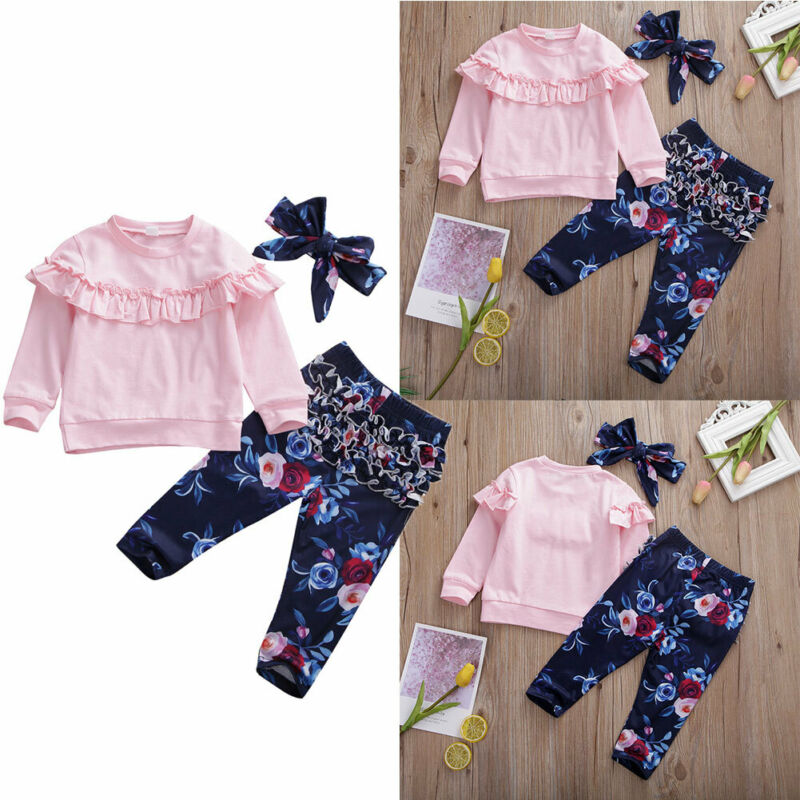 Newborn Baby Girl 0-24M Ruffles Long Sleeve Tops Flower Pants Autumn Outfit Clothes