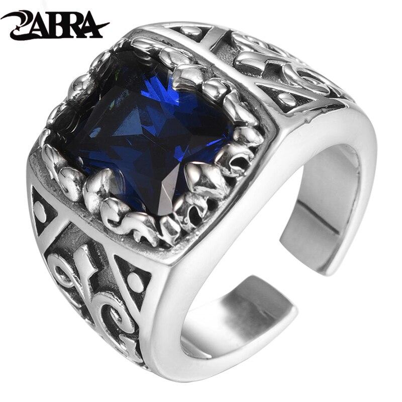 ZABRA Vintage bleu pierre anneau pour hommes réel 925 bague en argent Sterling femmes lourd Rock bijoux pour motard homme taille redimensionnable 9-11