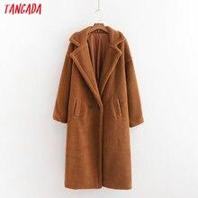 Tangada элегантные зимние Для женщин длинное пальто куртка с карманами и пуговицами Длинные рукава Повседневное однотонное пальто 1D03