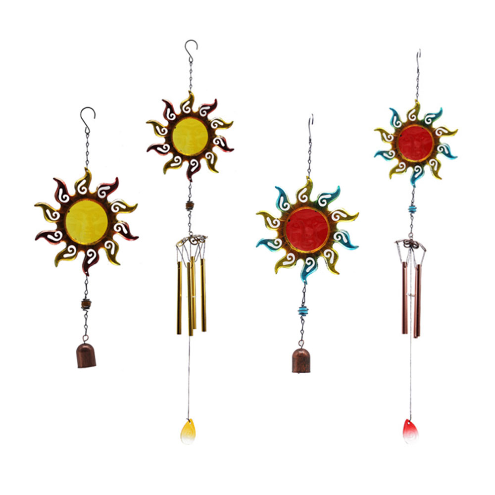 Sun Wind Chimes Glass Painted Ornaments Creative Home Wind Bell Chime Pendant Kids Room Decoration