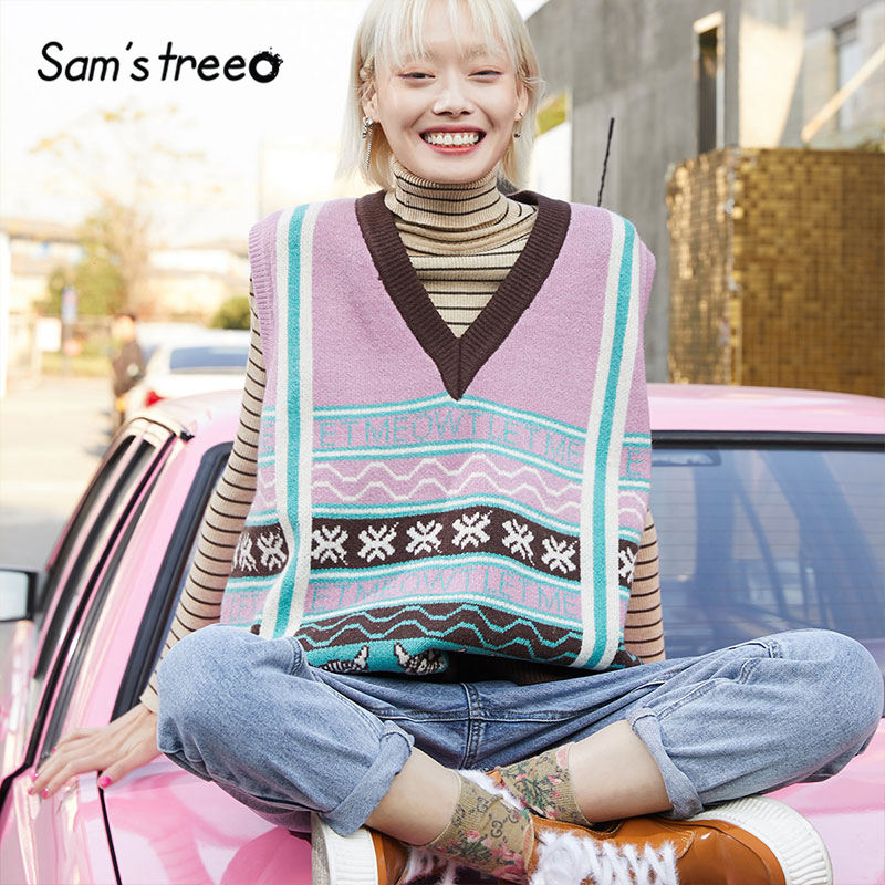 SAM'S TREE Pink Colorblock Patchwork Print Pullover Knit Sweater Vest Women 2020 Winter Sleeveless Vintage Ladies Basics Tops