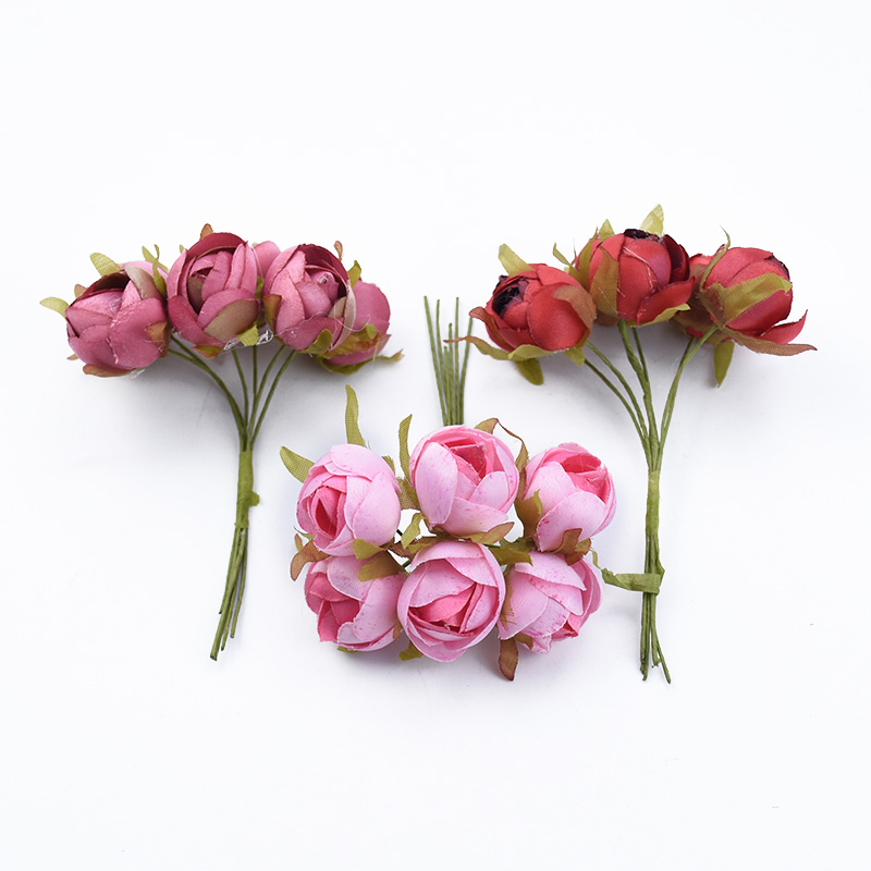 6pcs Roses Cheap Artificial Flowers For Wedding And Christmas Decorations 5