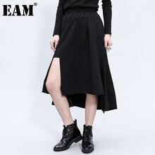 Temperament Skirt Women Waist Irregular Vent-Split Black Autumn High-Elastic Fashion