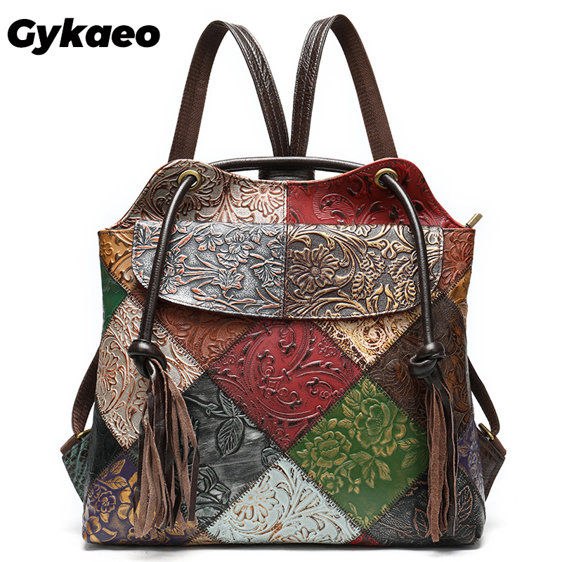 Gykaeo Vintage Genuine Leather Women Backpacks 13.3 Inch Laptop Backpack Female Travel Back Pack Ladies Bagpack Mochila Feminina
