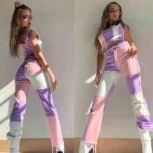 Женские брюки с цветными вставками джинсы высокой талией 2020