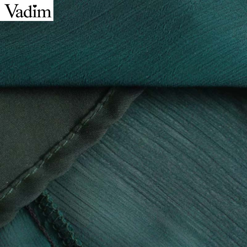 Image 5 - Vadim women chic chiffon green midi dress long sleeve elastic waist see through female stylish chic solid dresses vestidos QD138Dresses   -