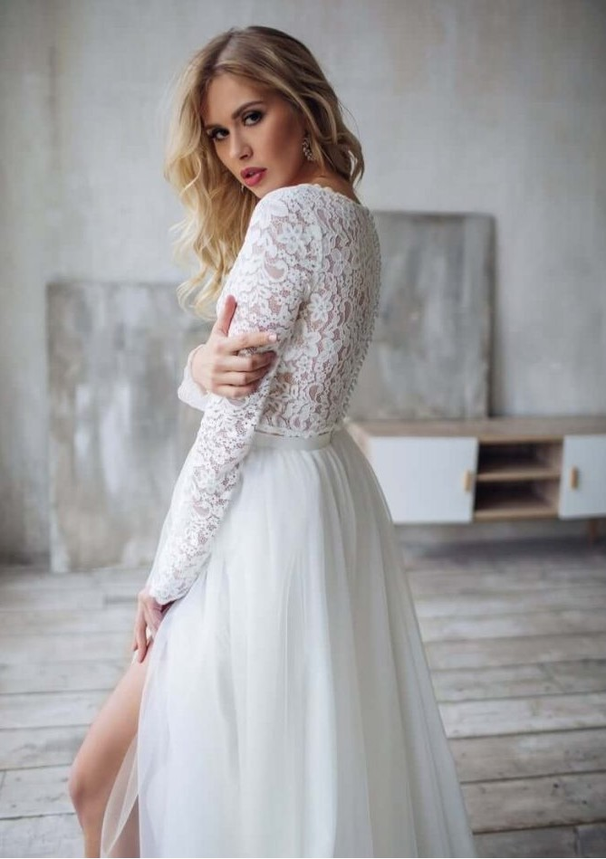 wedding : Boho Wedding Dress With Sleeves 2020  Side Slit Bohemian Beach Bridal Gowns Gorgeous Charming For Women Brides Floor Length