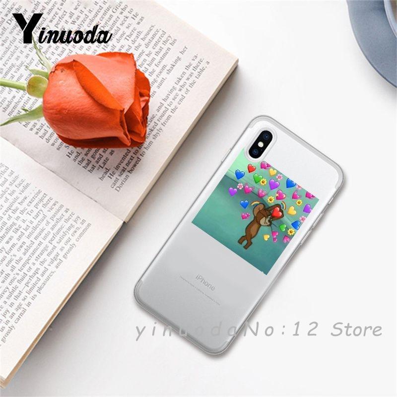 Yinuoda супер милый кот собака мультфильм розовый в форме сердца ты и я серия HD Прозрачный чехол для телефона для iphone 6 7 8 Plus X XS XSMax 5S - Цвет: 22