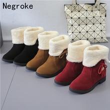цена на 2019 Women Snow Boots Winter Fur Ankle Boot Female Bowtie Warmer Plush Suede Rubber Flat Slip On Fashion Platform Ladies Shoes