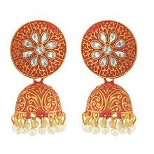 Ins dorado indio cuentas hechas a mano grabado flor epoxi Tailandia Piercing pendientes moda coreana bisutería para fiesta 2020