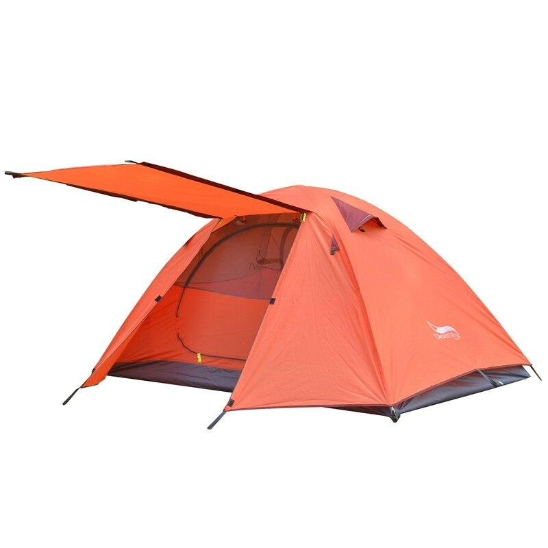 Одиночная палатка для кемпинга, алюминиевая палка, двухслойные водонепроницаемые, большое пространство, портативная посылка для хранения