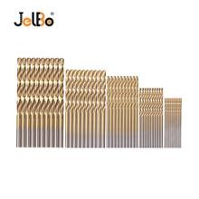 JelBo 50Pcs/Set Twist Drill Bit HSS Titanium Coated Twist Drill Woodworking Tool Set (1/1.5/2/2.5/3mm)for Wood, Metal