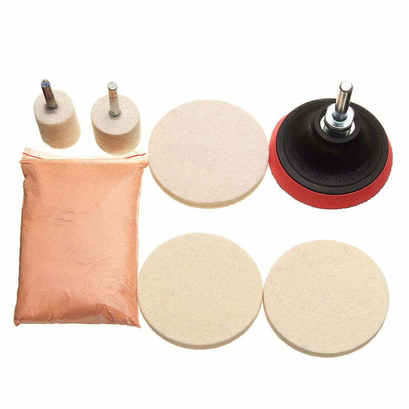 8Pcs/Set 4 OZ Cerium Oxide Powder Watch Glass Windscreen Windows Polishing Kit Cleaning Scratch Removal Polishing Backing Pad