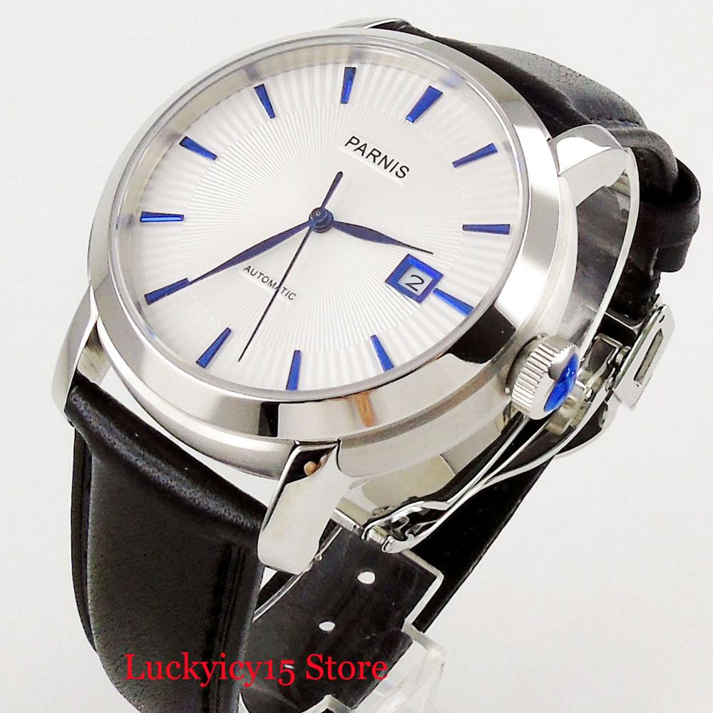Simple Fashion 41mm Men's Watch <font><b>PARNIS</b></font> Top Brand Self Winding Wristwatch White Dial Auto Date Sapphire Glass image