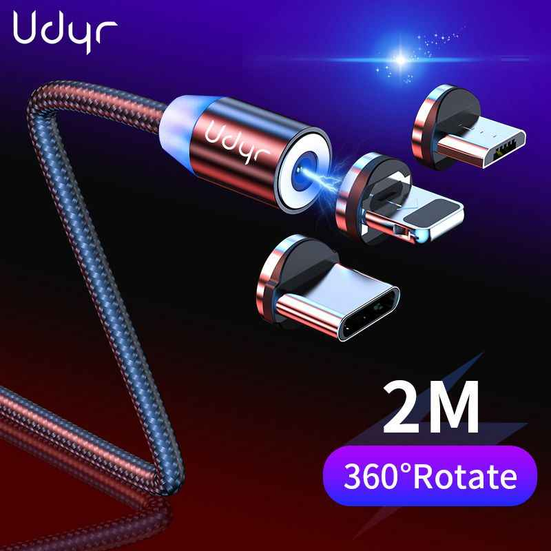 Udyr 2m Magnetic Cable Micro USB Type C Cable For iPhone xs Samsung Fast Charging Magnetic Charger USB Cables  Mobile Phone Cord