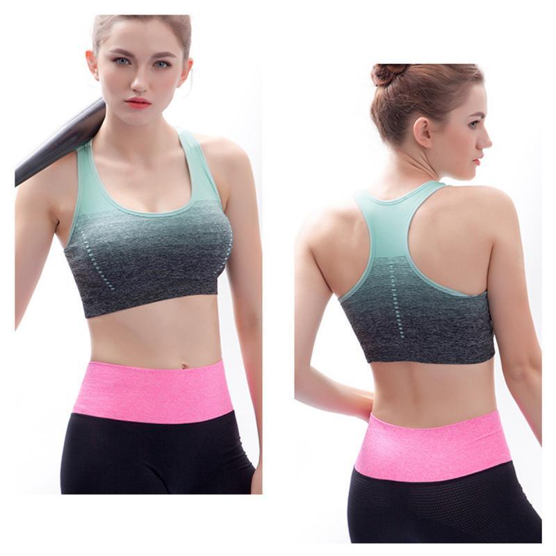 Women Yoga Bra Sport Bra Top Gradient High Stretch Sports Bras Quick Dry Sports Top For Fitness Running Gym Seamless Bra Tops