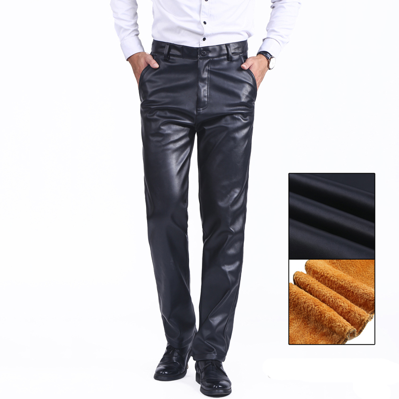 Thoshine Brand Men Winter PU Leather Pants Lining Thick Fleece Straight Fit Male Thermal & Warm Trousers Windproof Waterproof