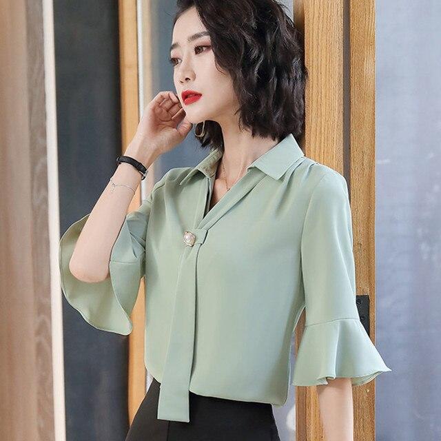 Korean Silk Women Blouses Woman Satin Blouse Tops Plus Size Blusas Mujer De Moda 2020 Women V Neck Soild Shirt Top Camisas Mujer 5