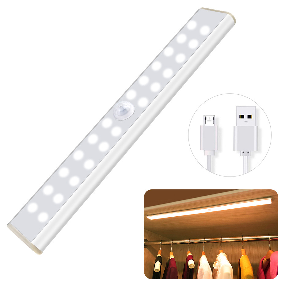 Rechargeable Motion Sensor Closet Light Wireless Under Cabinet Light With Large Battery Life 1000mAh For Kitchen Hallway