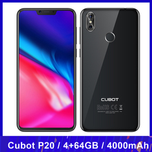 Cubot P20 téléphone portable 4GB 64GB 6.18 pouces encoche 19:9 écran octa core 4000mAh Android 8.0 MT6750T 20MP empreinte digitale 4G Smartphone