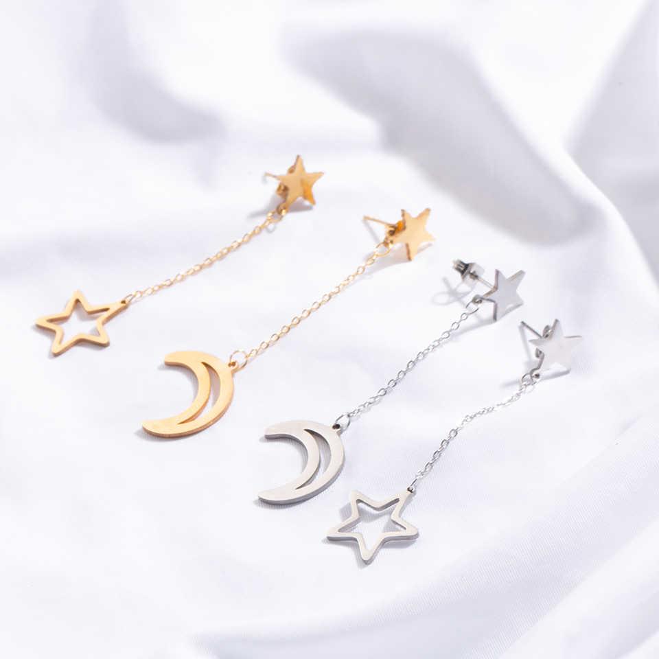 Brincos femininos minimalista, joias de aço inoxidável douradas e prateadas com pingente de lua e estrela, acessórios de joias para casamento