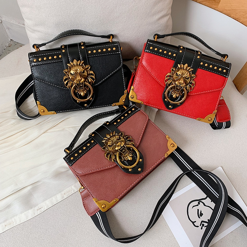 Ha6b6d1d36c7c4b968587c5c9b5798c98T - Female Fashion Handbags Popular Girls Crossbody Bags Totes Woman Metal Lion Head  Shoulder Purse Mini Square Messenger Bag