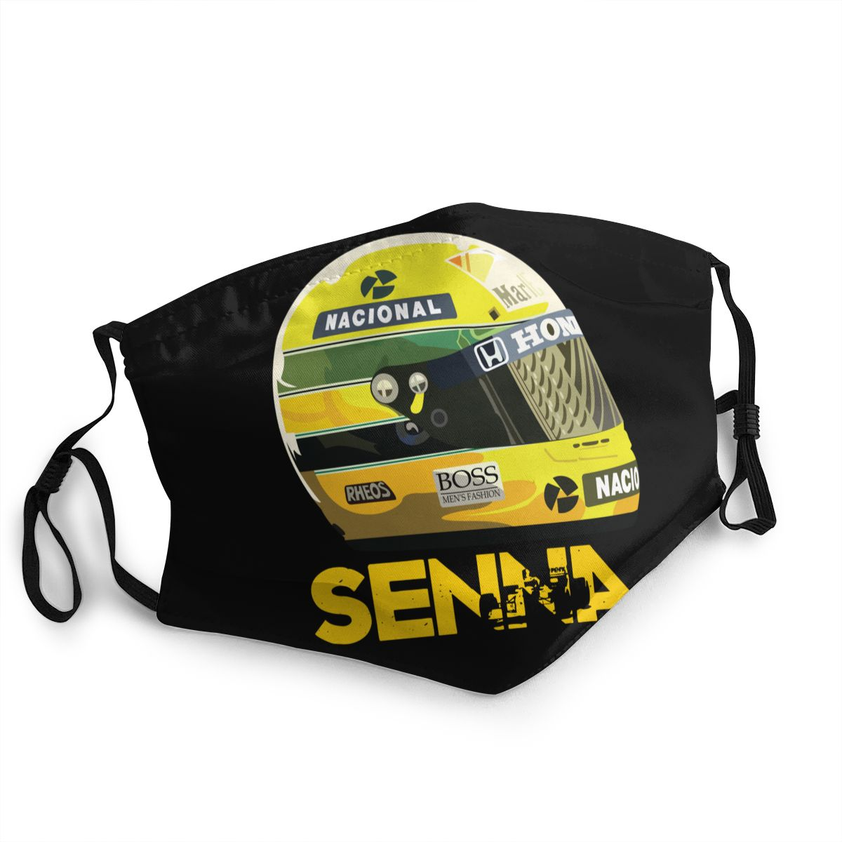 Ayrton Senna Helmet Unisex Non-Disposable Face Mask Anti Bacterial Dustproof Protection Cover Respirator