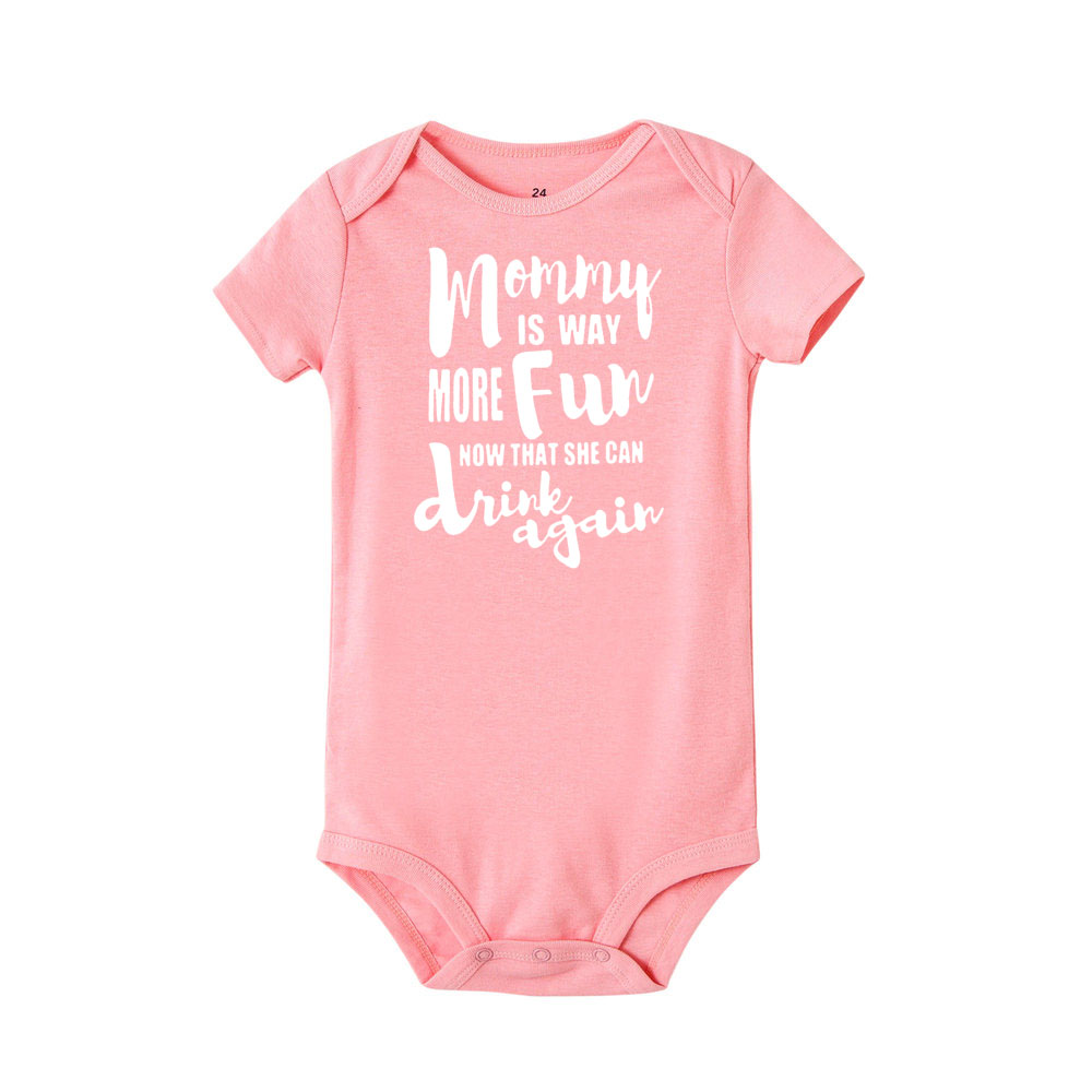 Mommy is Way More Fun Now That She Can Drink Again Newborn Infant Baby Short Sleeve Bodysuit Romper Jumpsuits Playsuit