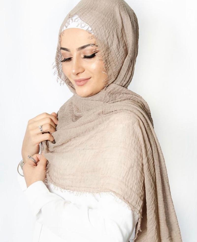 Fashion Women Muslim Crinkle Hijab Scarf Musulman Cotton Headscarf Islamic Hijab Shawls and Wraps Foulard Femme