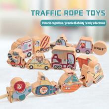 Large Blocks Wooden-Toys Stringing Beads-Game Threading Traffic Kids Gifts Children