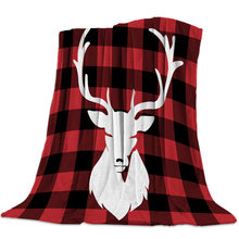 Christmas Red And Black Check And Elk Style Bed Cover Coverlet Flannel Travel Fleece Wrap Wrinkle-Resistant Hypoallergenic(China)