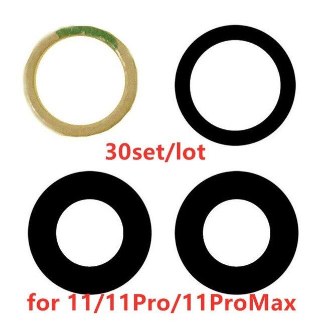 AliSunny 30set Terug Camera Glazen Lens voor iPhone 11 Pro 11Pro Max Achter Camera Cover 3M Sticker Houder onderdelen