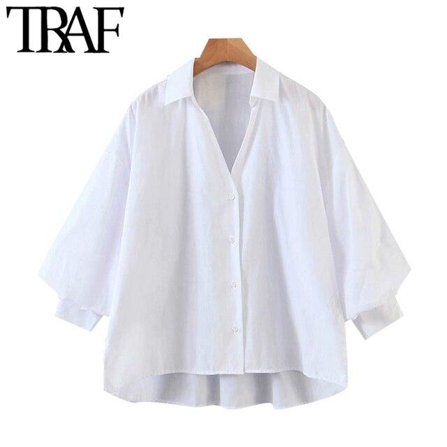 TRAF Women Fashion Button-up Loose Irregular Blouses Vintage Lantern Sleeve Side Vents Female Shirts Blusas Chic Tops 1