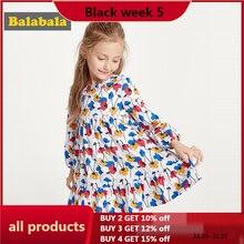 Balabala בנות פרחוני שמלת אביב שמלת 2020 חדש כותנה ארוך שרוול שמלת ילדי שמלות תחפושת נסיכה