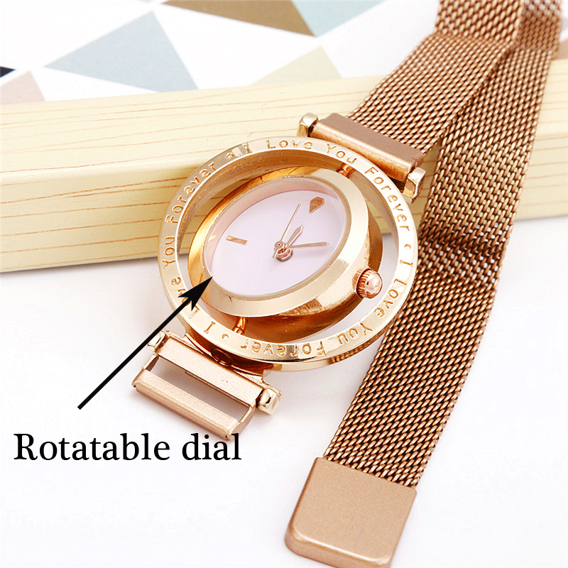 Luxury Women Watch Rose Gold Mesh Magnetic Buckle Personality Creative Wrist Watch Rotating Dial Ladies Business Casual Clock