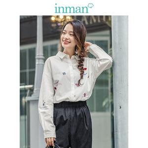Image 1 - INMAN 2020 ربيع جديد وصول الأدبية ضئيلة 100% القطن التطريز طويلة الأكمام المرأة قميص