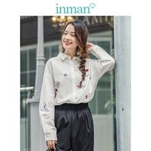 INMAN 2020 wiosna nowy nabytek literacka szczupła 100% bawełniana haftowana koszula z długim rękawem damska