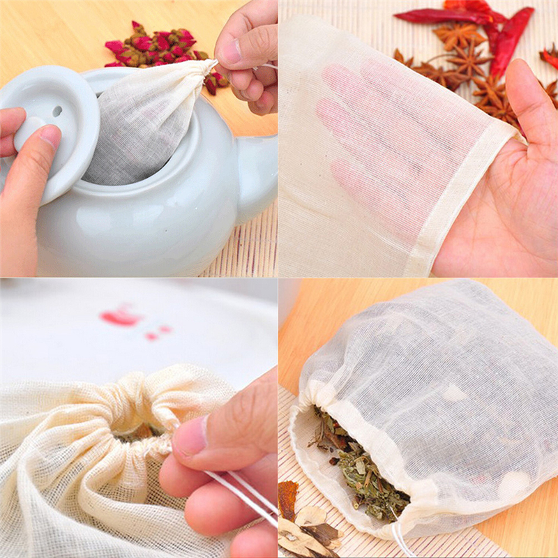 10Pcs Cotton Muslin Drawstring Reusable Bags For Soap Herbs Tea Large