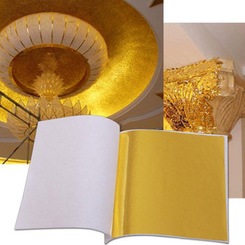 100 sztuk 8*8cm złota folia arkusze papieru rzemiosło artystyczne miedzi liści liści do dekoracji wnętrz złocenie naklejki akcesoria do paznokci tanie i dobre opinie alloy Tak ( 50 sztuk) 8-134