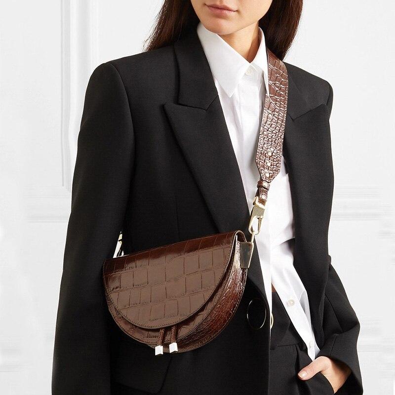 Women Saddle Bag Alligator Leather Crossbody Messenger Bags Luxury Shoulder Bag Wide Strap Female Small Handbag Tote