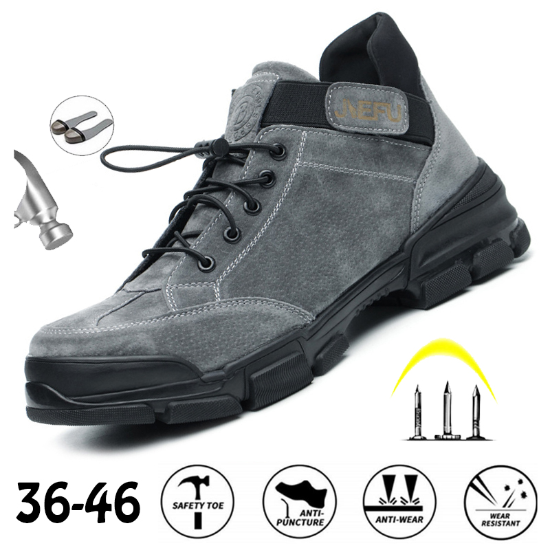 Dropshipping Women Work Sneakers Men Safety Shoes Steel Toe Cap Anticollision Fashion Outdoor Plus Size