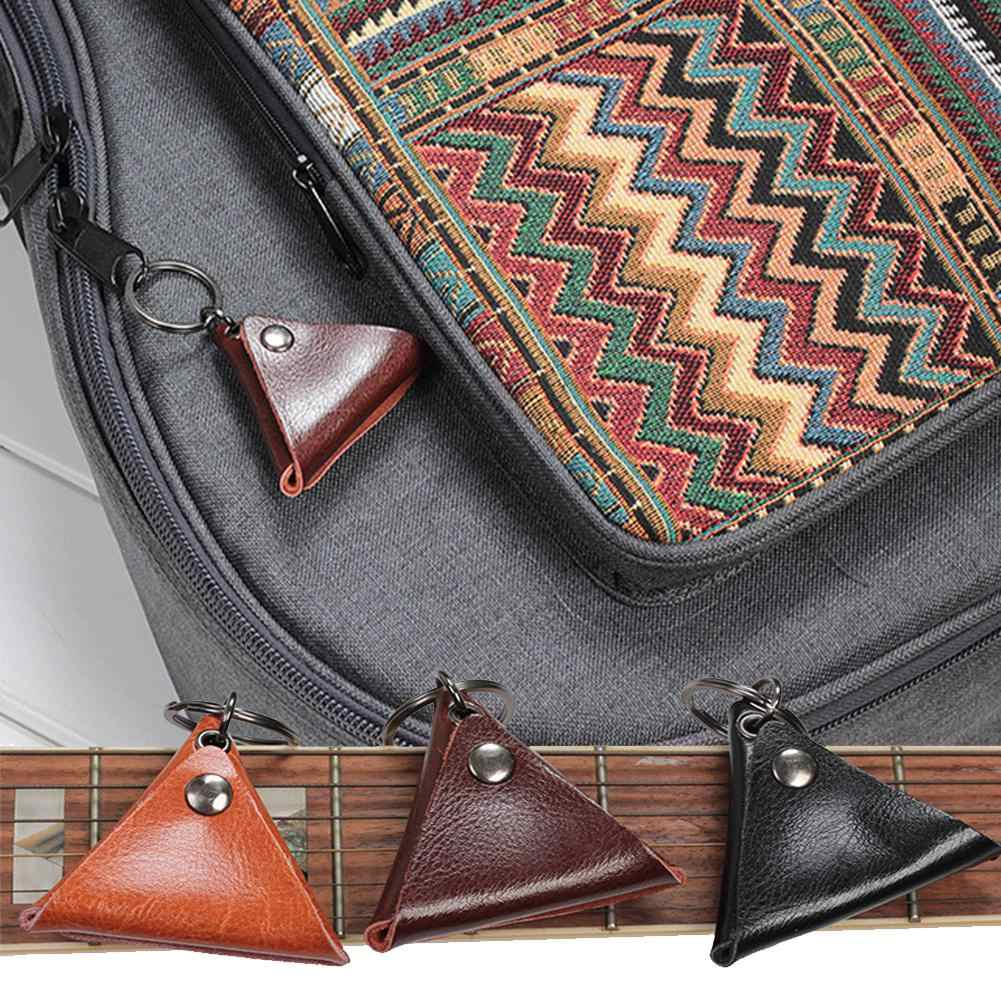 High Quality Guitar Pick Leather Holder Electric Guitar Picks Pack Guitarra Plectrum Case Bag Keychain Shape Guitar Accessories