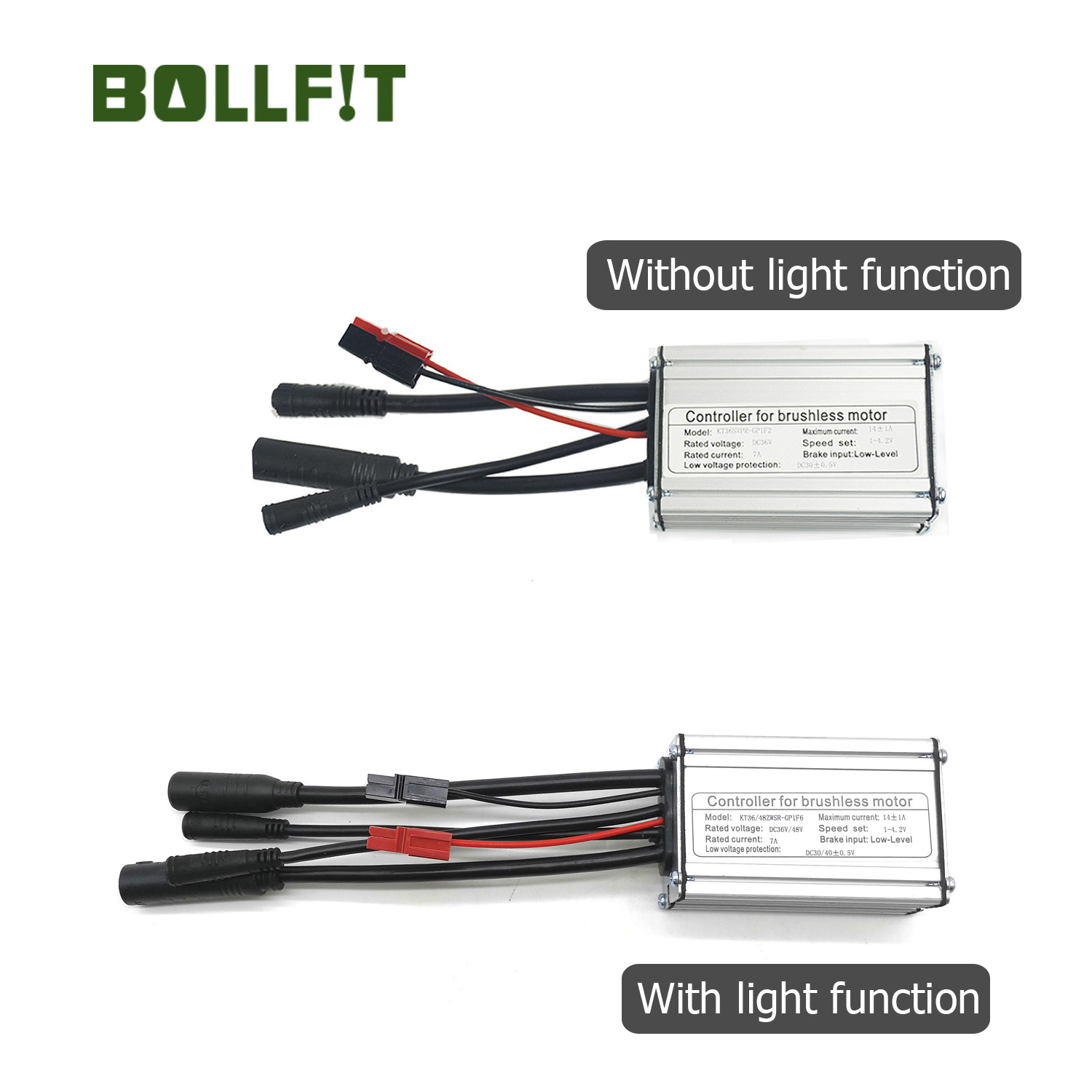 BOLLFIT  36/48V 14A  6 Mosfets Water Proof  Plug  KT Controller   250W/350W Motor Electric Bicycle Accessories Light