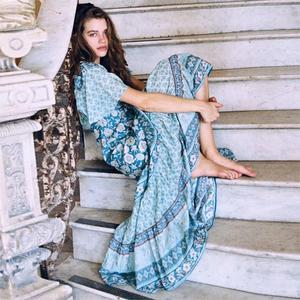 Jastie Boho Maxi sukienka w całości zapinana na guziki dekolt w serek kobiety sukienki dopasuj talię z krótkim rękawem letnia sukienka długie sukienki plażowe Vestidos 2019