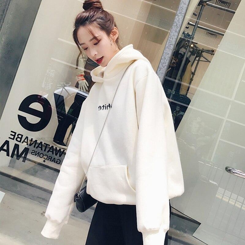 2019 Women's Winter New Solid Color Casual Top Hoodies Sweatshirts Sleeve Long Sleeve Sweatshirt Sportswear Loose Plus Velvet