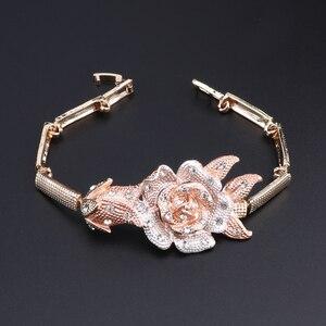Image 4 - Nigeria Classic Jewelry Sets Elegant Bride Wedding Flower Shape Necklace Earrings Bracelet Ring Set for Dubai Women