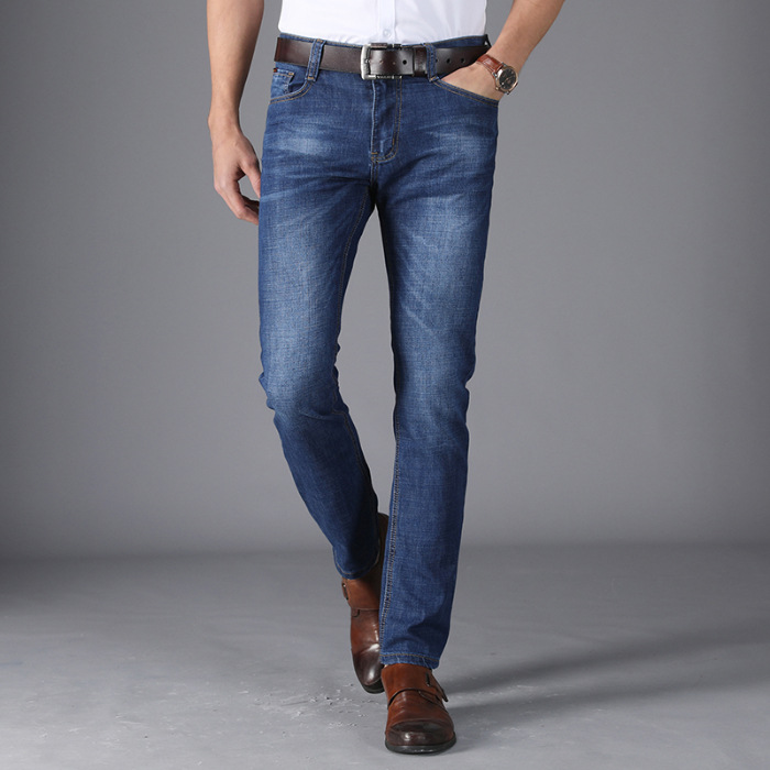 Light Blue Jeans Men Straight-Cut Casual Brand MEN'S Trousers Trend Business Trousers 2019 Summer Wear New Style Thin