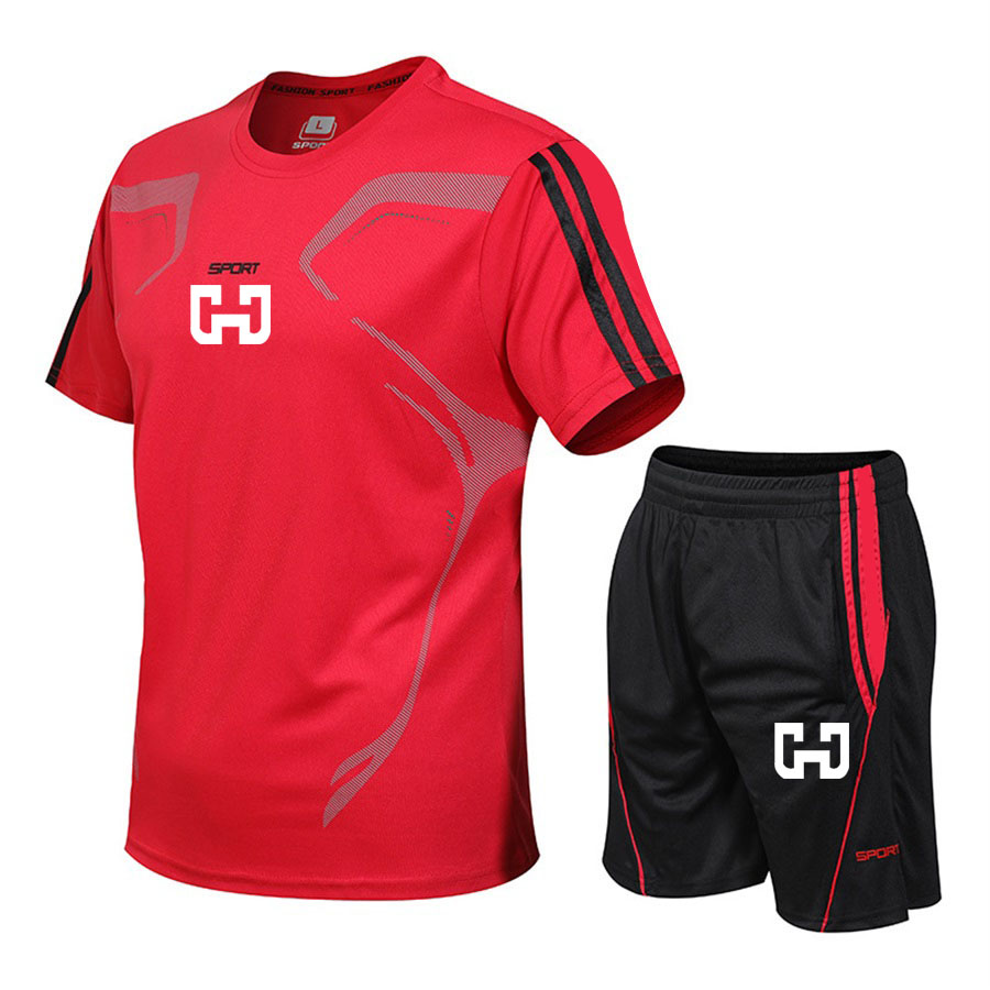 Sweat Suit 2020 Summer Men Sets Fitness Suit Quick Drying Short Sleeve Shorts Tracksuit Men's Gyms Solid Sportswear Two Piece