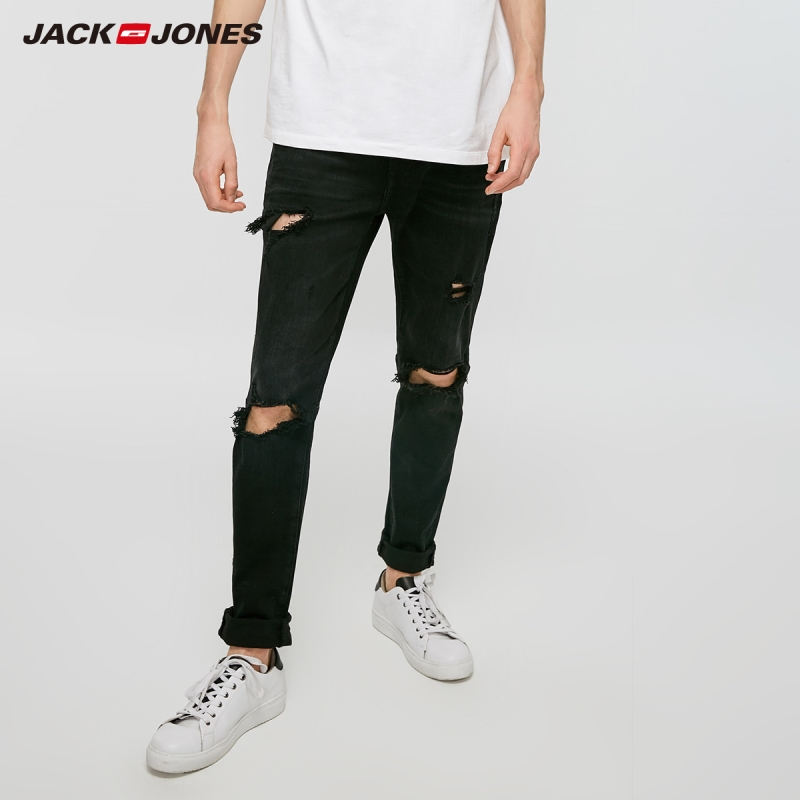 JackJones Men's Black Ripped Skinny Tight-leg Jeans Streetwear 219132601